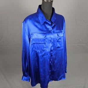 Vintage Royal Blue Button up Blouse